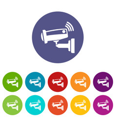 security camera icons set color vector image