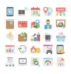 Seo and digital marketing colored icons 2 vector