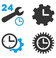 Service Time Flat Bicolor Icons vector image