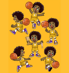Set curly haired black boy basketball player vector