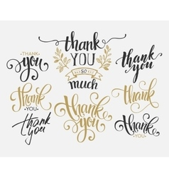 Set custom thank you hand lettering vector