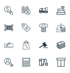 set of 16 ecommerce icons includes callcentre vector image