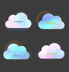 set of creative cloud with blurred holographic vector image