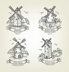 set of farm landscapes with windmills views vector image