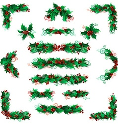 Set of holly berries page decorations and dividers vector image