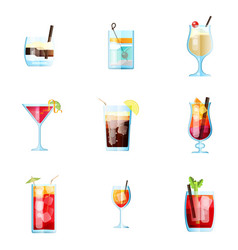 set of nine tropical cocktails white russian tom vector image