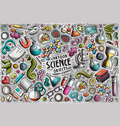 Set science theme items objects vector