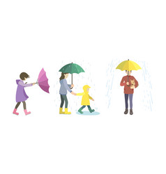Set various people on a rainy and windy day vector