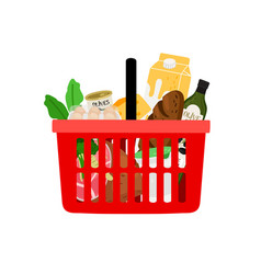 Shopping basket with products isolated on white vector