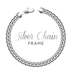 silver chain round border frame vector image