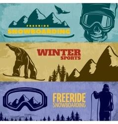 Snowboarding Banner Set vector image
