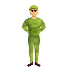 Soldier with helmet icon cartoon style vector