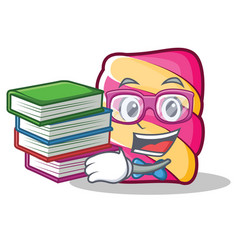 Student with book marshmallow character cartoon vector