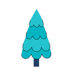 stylized flat christmas tree icon vector image