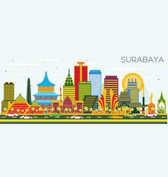 Surabaya indonesia skyline with color buildings vector