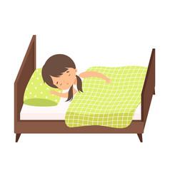 Sweet brunette little girl sleeping sweetly in her vector