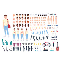 Teenager character constructor boy creation set vector