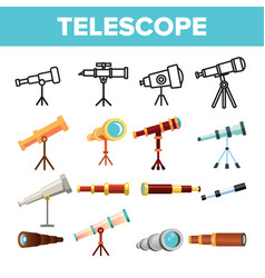 telescope icon set spyglass discover tool vector image