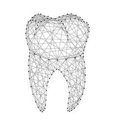 Tooth dental root from abstract futuristic vector