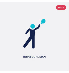 Two color hopeful human icon from feelings vector