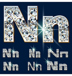 Ultimate alphabet diamonds and platinum ingot vector