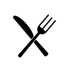 Utensils kitchen crossed fork and knife pictogram vector