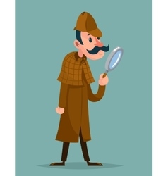 Victorian detective magnifying glass investigation vector