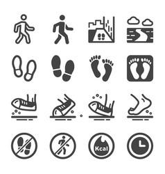 walking icon set vector image
