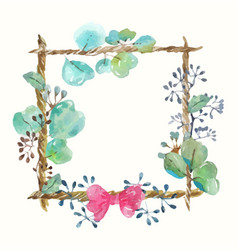 watercolor frame with leaves and seeds and twine vector image