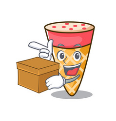 With box ice cream tone character cartoon vector