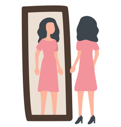 Woman near mirror trying on dress image vector