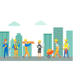 Working people builders with tools and materials vector