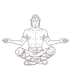 Yoga man in a lotus position vector