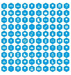 100 park icons set blue vector image vector image