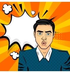 Attractive brunette surprised man vector image