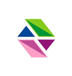 business shape colorful technology logo vector image