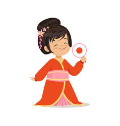 cute girl wearing red kimono national costume of vector image