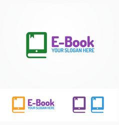 e-book logo set isolated on white background vector image
