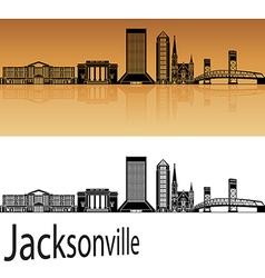 Jacksonville skyline in orange vector image