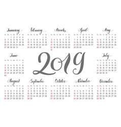 pocket calendar 2019 handdrawn lettering vector image