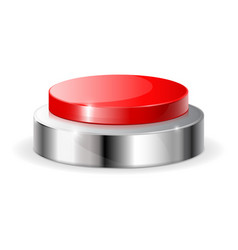 red push button with metal frame vector image