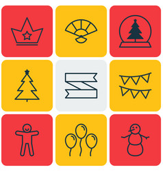 set of 9 happy new year icons includes winter vector image vector image