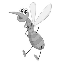 Single mosquito flying on white vector image vector image