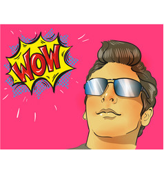 wow pop art male face young sexy surprised man in vector image