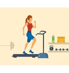 Young adult woman running on treadmill in fitness vector image vector image