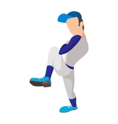 Baseball pitcher cartoon icon vector image