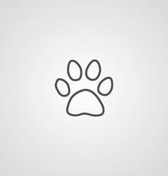cat footprint outline symbol dark on white vector image vector image