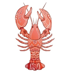 Decorative isolated lobster vector image vector image