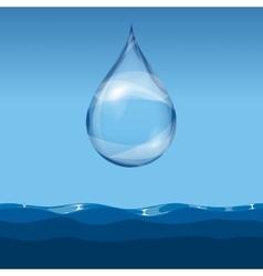Realistic transparent water drop vector image