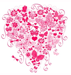 Valentine greeting pink card vector image vector image